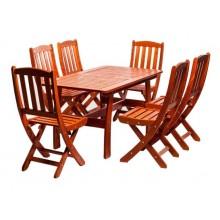 Set mobiler gradina Piknik, lemn masiv, 6 persoane