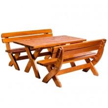 Set mobiler gradina King 190 cm, lemn masiv, masa + bancute