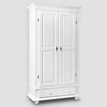 Dulap lemn masiv Seby, alb, 2 usi + 1 sertar, 110x200x58 cm