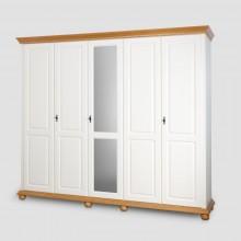 Dulap lemn masiv cu oglinda Bucovina, 5 usi, alb