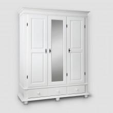 Dulap lemn masiv cu oglinda Seby, 3 usi + 2 sertare, alb