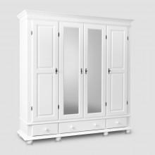 Dulap lemn masiv cu oglinda Seby, 4 usi + 3 sertare, alb