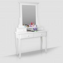 Masuta machiaj cu oglinda, lemn masiv, alb