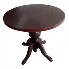 Masa Ramely rotunda cu picior central din lemn masiv, wenge, 85x79 cm