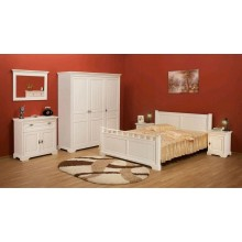 Set mobila dormitor Cleopatra, lemn masiv,  alb, clasic