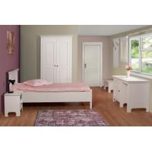 Set mobila dormitor Constanta, lemn masiv, alb, clasic