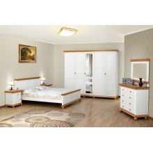 Set mobila dormitor Bucovina, lemn masiv,  alb-miere, clasic-rustic