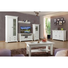Set mobila living Mona, lemn masiv,  alb, clasic