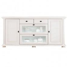 Comoda lemn masiv Mona, 2 usi + 2 setare + 2 sertare cu sticla, alb, 175x41x91 cm