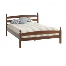 Pat complet dormitor din lemn masiv Bianca, maro, salteaua inclusa, 140x200 cm