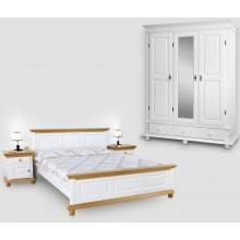 Set mobila dormitor Bucovina 4, lemn masiv,  alb-miere, clasic-rustic