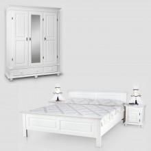 Set mobila dormitor Seby 3-160, lemn masiv,  alb, clasic