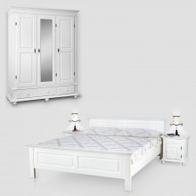 Set mobila dormitor Seby 3-140, lemn masiv,  alb, clasic