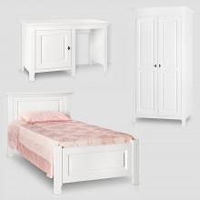 Set mobila tineret Constanta 3, lemn masiv, alb