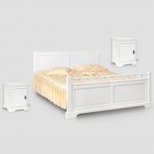 Pat Cleopatra 140x200 cm + 2 noptiere Cleopatra, lemn masiv,  alb