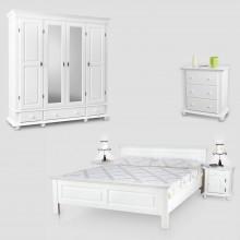 Set mobila dormitor Seby 5, lemn masiv,  alb, clasic