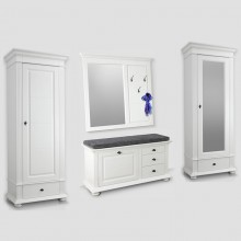 Set mobila hol Verona 4, lemn masiv,  alb