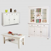 Set mobila living Clasica 1, lemn masiv,  alb