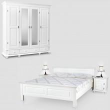 Set mobila dormitor Seby 4-160, lemn masiv,  alb, clasic