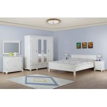 Set mobila dormitor Seby 140, lemn masiv,  alb, clasic