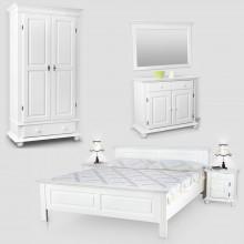 Set mobila dormitor Seby 2-160, lemn masiv,  alb, clasic