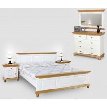 Set mobila dormitor Bucovina 160, alb-miere, clasic