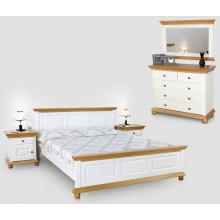 Set mobila dormitor Bucovina 140, alb-miere, clasic