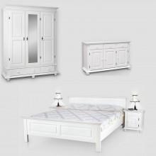 Set mobila dormitor Seby 3-140-3-3, lemn masiv, alb
