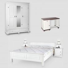 Set mobila dormitor Seby 3-160-birou, lemn masiv,  alb, clasic