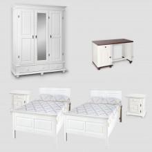 Set mobila dormitor Seby 3-2x90-birou, lemn masiv,  alb, clasic