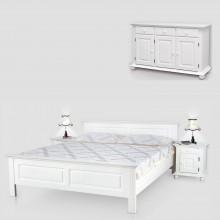 Set mobila dormitor Seby 160-3-3, lemn masiv, alb