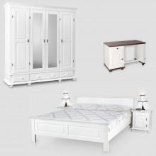 Set mobila dormitor Seby 4-160-birou, lemn masiv,  alb, clasic