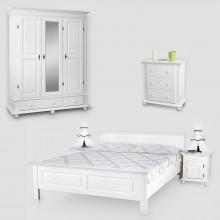 Set mobila dormitor Seby 3-160-3, lemn masiv,  alb, clasic