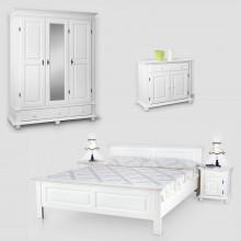 Set mobila dormitor Seby 3-160-2-1, lemn masiv,  alb, clasic