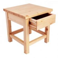 Scaunel cu sertar, lemn masiv, natur, lacuit