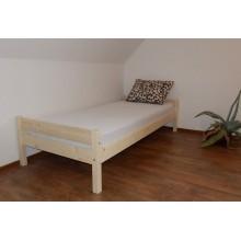 Pat dormitor ieftin din lemn de brad natur netratat, 1 persoana, saltea inclusa