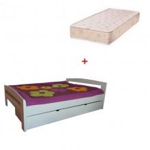 Pat dormitor Serena din lemn masiv cu lada de depozitare si salteaua incluse, alb, 140x200 cm