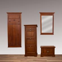 Set mobila hol Ema 4-3, lemn masiv fag,  finsaj cires