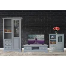 Set mobila living Copenhaga 3-0, lemn masiv fag,  gri deschis