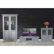 Set mobila living Copenhaga 3-1, lemn masiv fag,  gri deschis