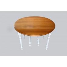 Masa extensibila 3 in 1, lemn masiv fag, 120-320 cm, finisaj alb+cires