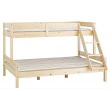 Pat etajat SANDRA, 80/120 x 200 cm, lemn masiv, natur