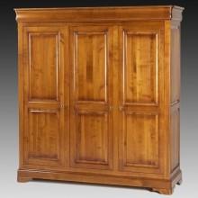 Dulap lemn masiv Lorena, 3 usi, cires, 186x60x200 cm