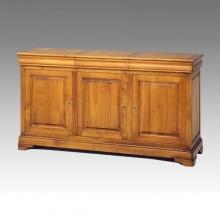 Comoda lemn masiv Lorena, 3 usi si 3 sertare, cires+fag, 182x52x98 cm