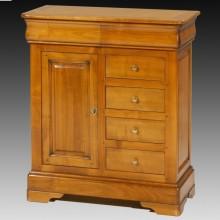 Comoda lemn masiv Lorena, 1 usa si 6 sertare, cires+fag, 88x38x100 cm
