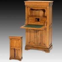 Dulapior tip secreter Lorena PM, 2 usi, lemn masiv cires+fag, 80x42x145 cm