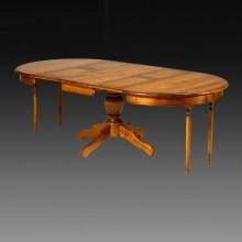 Masa extensibila rotunda cu picior central, lemn masiv fag, 3 extensii, 120-240 cm, finisaj cires