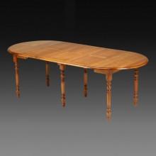 Masa extensibila 3 in 1, lemn masiv fag, 3 extensii, 105-225 cm, finisaj cires