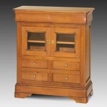Comoda lemn masiv Lorena, 2 usi cu geam si 6 sertare, cires+fag, 88x38x100 cm