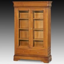 Dulap tip vitrina Lorena, 2 usi cu geam si 2 sertare, lemn masiv cires, 101x38x160 cm